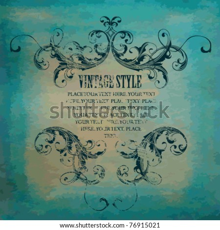 Watercolor paper with vintage frame - stock vector