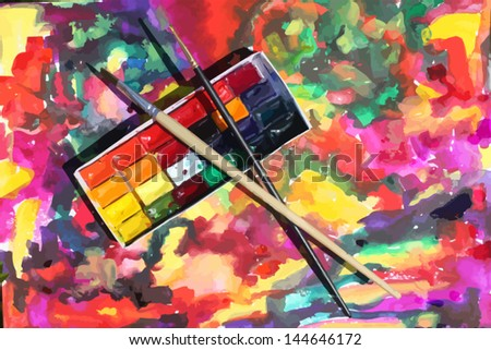 watercolor picturesque colored background with paints and brushes - stock vector