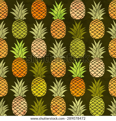 Watercolor pineapple seamless pattern. Vector illustration background. - stock vector