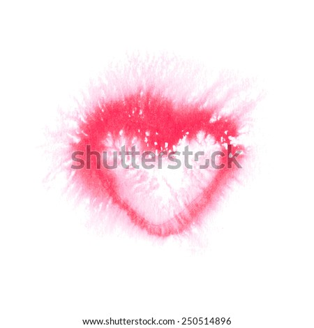 Watercolor pink blot-heart on a white isolated background