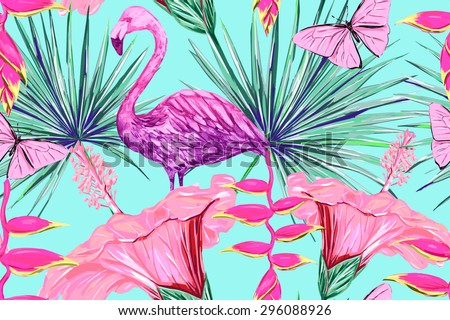 Watercolor pink flamingo, tropical flowers and palm leaves, hibiscus. Beautiful vector seamless floral jungle pattern background, exotic print - stock vector
