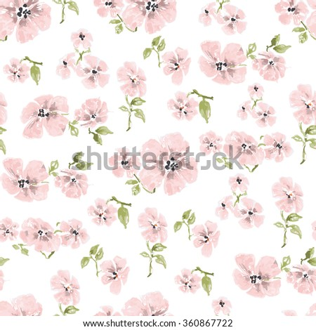 Watercolor pink flowers seamless pattern over white background - stock vector