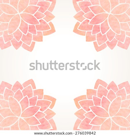 Watercolor pink lotus flowers. Hand drawing floral ornament on white background. Oriental east japanase, indian or chinese style pattern. Flower frame and place for text. Vector illustration - stock vector