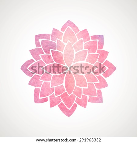 Watercolor pink lotus. Oriental circled element for design. Flower pattern on white background. Vector illustration - stock vector