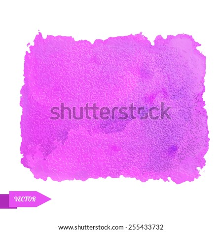 Watercolor pink paint stain isolated on a white background. Art abstract. Frame  - stock vector