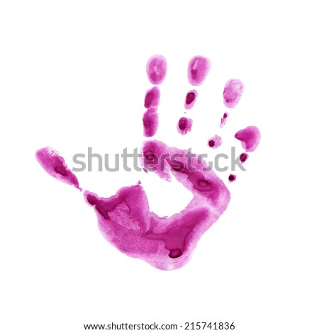 Watercolor pink print of children palm - stock vector