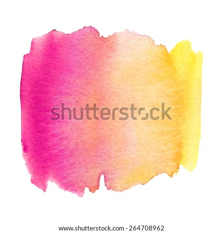 Watercolor pink yellow hand drawn paper texture isolated macro stain on white background. Wet brush painted splash striped abstract vector illustration. Art design element for banner, template, print - stock vector