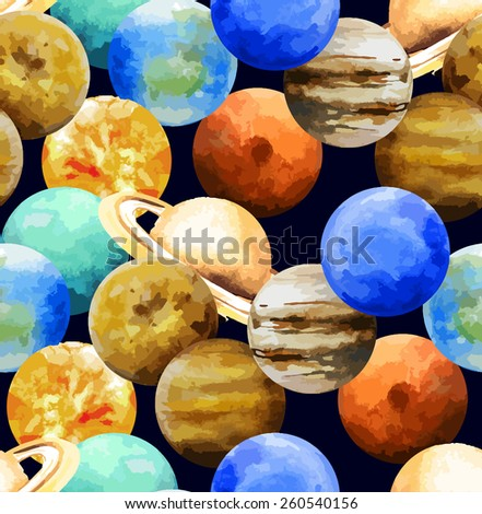 Watercolor planets. Sun, Mercury, Venus, Earth, Mars, Jupiter,Saturn, Uranus, Neptune. Seamless pattern - stock vector