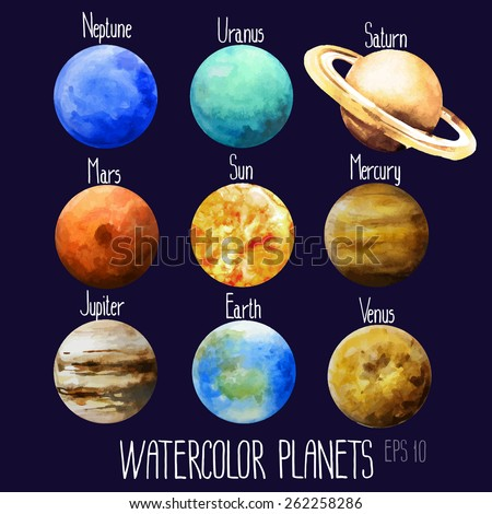 Watercolor planets. Sun, Mercury, Venus, Earth, Mars, Jupiter, Saturn, Uranus, Neptune. Vector design elements  - stock vector