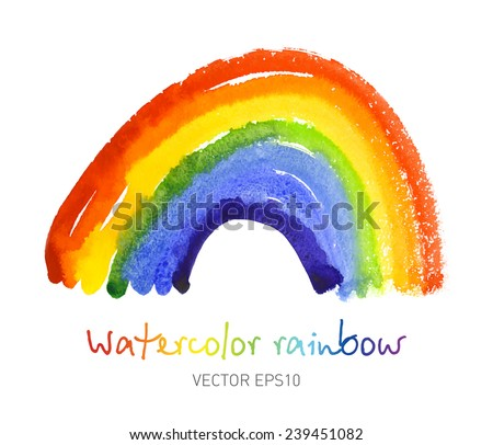 Watercolor rainbow. Bright colorful design element. Vector Eps10. - stock vector