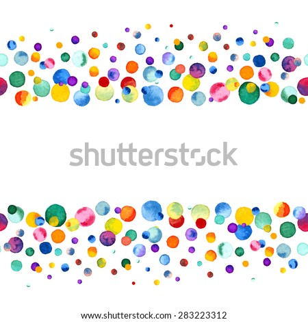 Watercolor Rainbow Colored Confetti Border With Space For Your Text Colorful Background