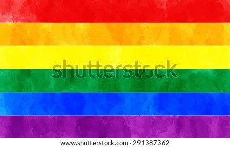 watercolor rainbow flag. symbol of peace. vector illustration - stock vector