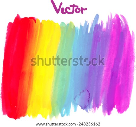 Watercolor rainbow hand painted background. Vector illustration.