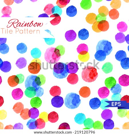 Watercolor rainbow repeated pattern. Vector illustration. - stock vector