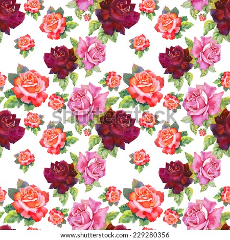 Watercolor red and pink roses seamless pattern.on white background vector illustration