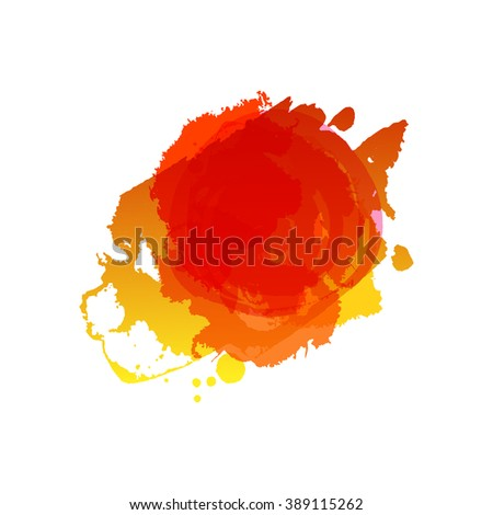 Watercolor red colors splash vector template. Frame with space for text. Grunge blob. Artistic drawn grunge background. Paint texture. Vector Ink splat. Summer and autumn grungy spot. - stock vector
