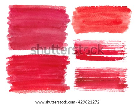 Watercolor red steins,drops,brushes,hand painting textures,objects.Vector  set.Valentines day Vintage background.Brush included.Love,romantic.Stripes isolated on white background.Watercolour spot - stock vector
