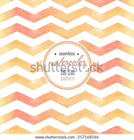 Watercolor red, yellow striped seamless background on the white  - stock vector