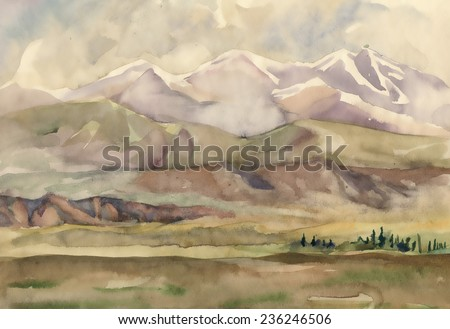 Watercolor river and mountains nature landscape vector illustration - stock vector