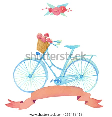 Watercolor romantic illustration with bicycle in vintage style. Vector hand drawn illustration: blue retro bicycle with floral basket, silk ribbon and roses bunch. - stock vector