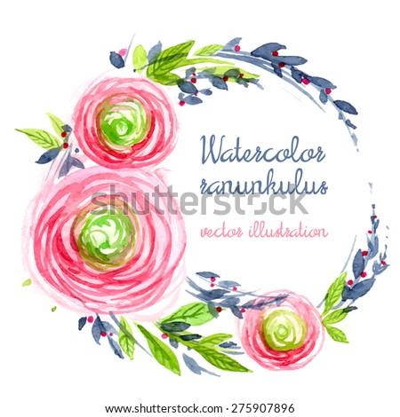 Watercolor roses wreath. Vector illustration. - stock vector