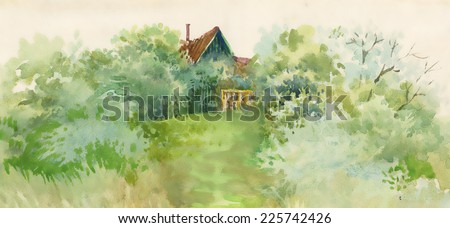 Watercolor rural house in green landscape vector illustration - stock vector