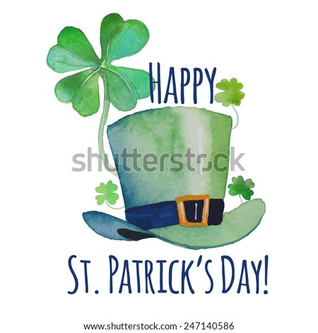 Watercolor Saint Patrick's Day card. Hand drawn artistic design with green leprechaun's hat and clover shamrock. Cartoon holiday illustration in vector - stock vector