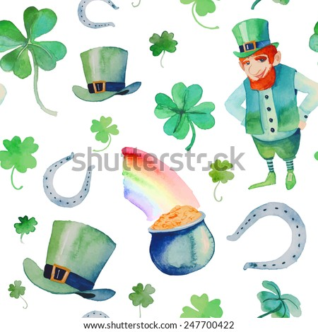 Watercolor Saint Patrick's Day pattern. Hand drawn seamless texture with objects: leprechaun, clover shamrock, hat, pot of gold, rainbow, horseshoe. Cartoon holiday background on white - stock vector