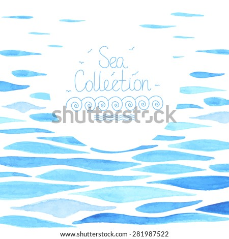 Watercolor sea background made in vector. Sea frame. Template for card. - stock vector
