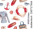 Watercolor Sea style fashion pattern. Hand painted seamless background with clothes objects: singlet, hat, bag in a marine style, moccasins, stripes sunglasses, sea shells, anchor, lifebuoy ring. - stock