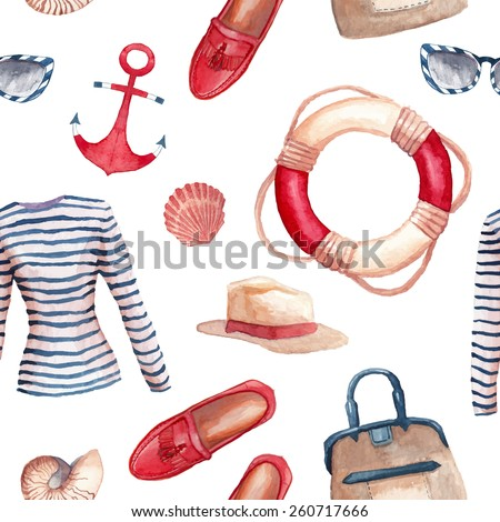 Watercolor Sea style fashion pattern. Hand painted seamless background with clothes objects: singlet, hat, bag in a marine style, moccasins, stripes sunglasses, sea shells, anchor, lifebuoy ring. - stock vector