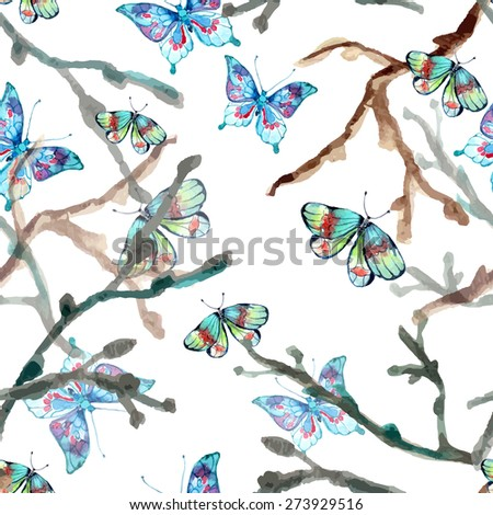 Watercolor seamless background with butterfly, natural pattern, Vector - stock vector