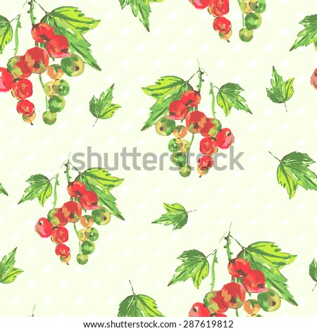 Watercolor seamless background with red currants