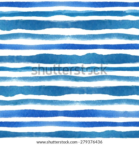 Watercolor seamless pattern borders texture.Blue cyan horizontal strips.Water, sea ,ocean wave  Hand drawing painting background .Backdrop,fabric,Wallpaper,brush.Vector.Summer,travel, vacation design - stock vector