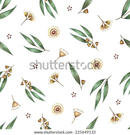 Watercolor seamless pattern branches of eucalyptus. Vector illustration. - stock vector