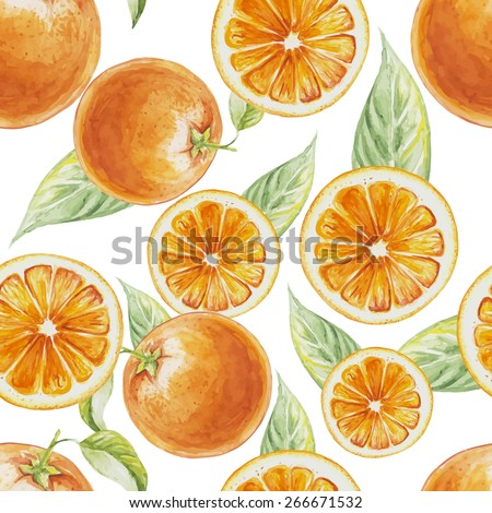 Watercolor seamless pattern of orange fruit with leafs. Vector illustration of citrus orange fruits. Eco food illustration - stock vector