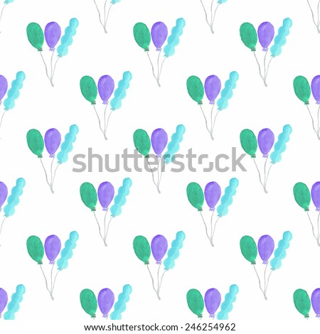 Watercolor seamless pattern with air baloons on the white background, aquarelle. Vector illustration. Hand-drawn decorative element useful for invitations, scrapbooking, design. Birthday party - stock vector