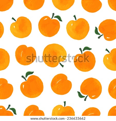 Watercolor seamless pattern with apricots on the white background. Hand drawn background. Vector illustration.  - stock vector