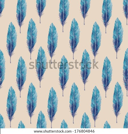Watercolor seamless pattern with feathers. Vector illustration - stock vector