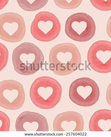 Watercolor seamless pattern with hearts - stock vector