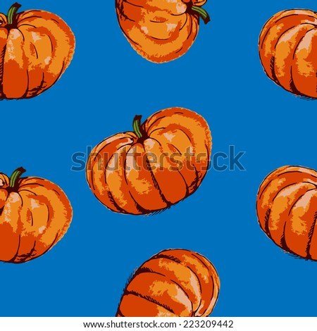 Watercolor seamless pattern with pumpkin. Halloween pattern. Halloween background. - stock vector