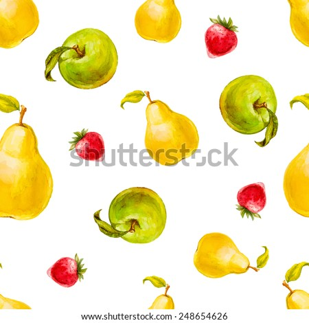 Watercolor seamless pattern with strawberries, pears and green apples. Hand drawn design. Vector summer fruit illustration. - stock vector