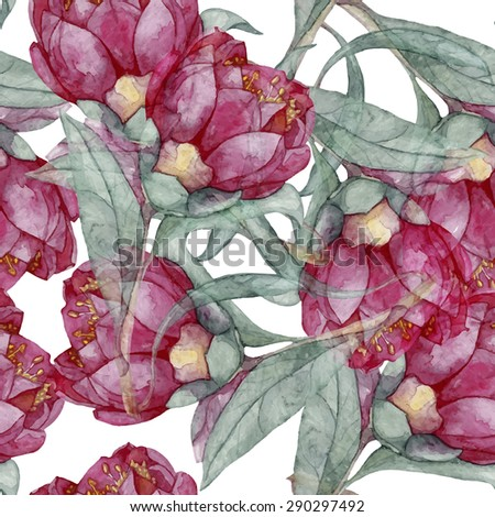 watercolor seamless vintage flower pattern eps10 - stock vector
