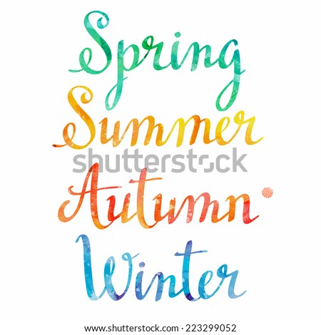 Watercolor seasons. Vector illustration - stock vector