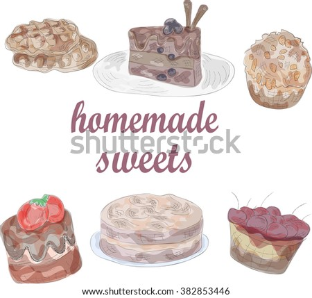 watercolor set of delicious sweets. EPS10 - stock vector