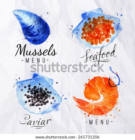 Watercolor signs seafood shrimp, caviar, mussels with lettering on crumpled paper - stock vector