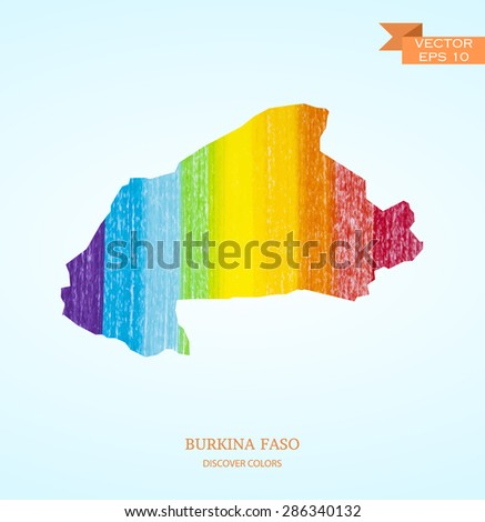 Watercolor sketch map of Burkina Faso isolated on background. Vector version