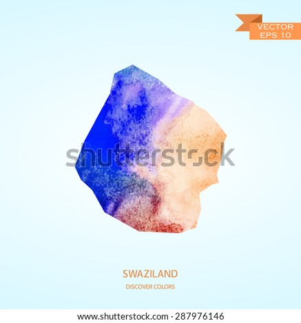 Watercolor sketch map of Swaziland isolated on background  - stock vector