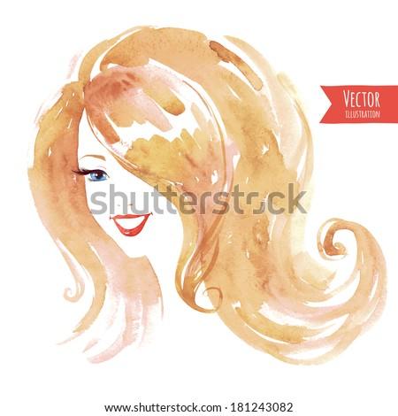 Watercolor smiling  girl. - stock vector