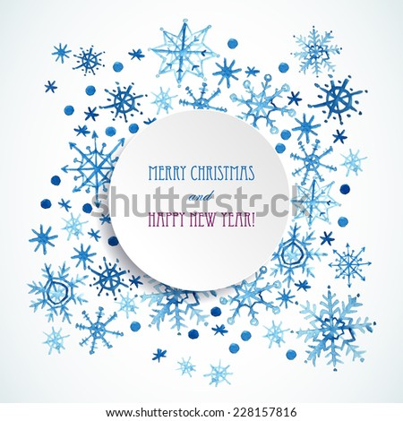 Watercolor snowflakes frame for Christmas and New Year and winter. Vector Banner template   - stock vector